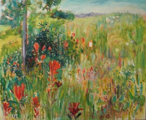 Meadow Mosiac & Indian Paintbrush (40x48 in) acrylic on canvas - small file